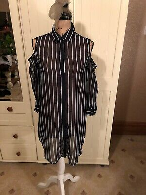 NEW LOOK Ladies Navy Blue Ivory Stripe Chiffon Cold Shoulder Blouse Top Size 12