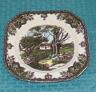 "Johnson Bros England 1883 Friendly Village 7 3/8"" Square Salad Plate - Excellent"
