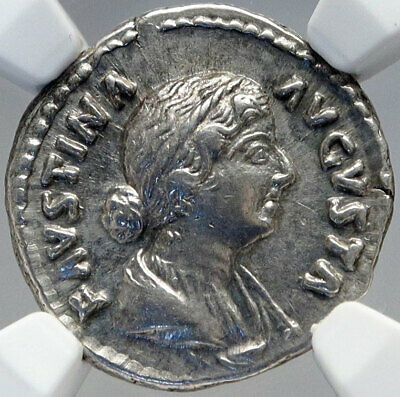 FAUSTINA II Jr Wife of MARCUS AURELIUS Ancient Silver Roman Coin NGC i82609