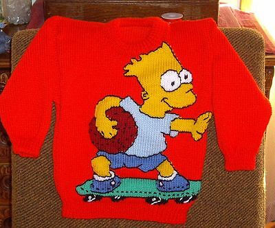 Bart Simpson  Jumper  New Hand Knitted Size 4/5