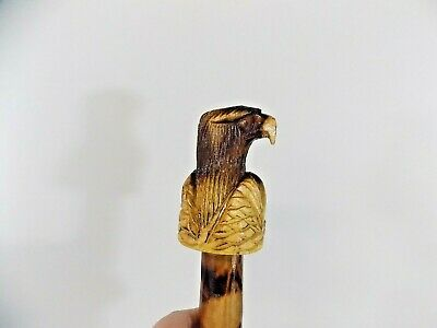 Jamaican Wood Carved Burned Folk art Sword Eagle Head Detailed Head and Handle