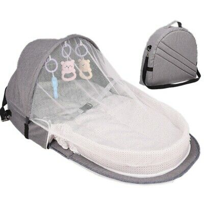 Foldable Baby Bed Travel Infant Sleep Basket With Sun Protect Mosquito Net Toy