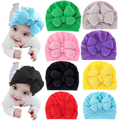 1x Baby Girl Big Bow Turban Hat Infant Soft Cotton Beanies Toddler Kids Headwrap