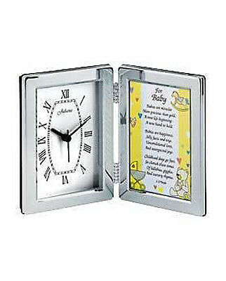 Personalised Clock & Photo Frame With Baby Verse, Engraved With Any Message.