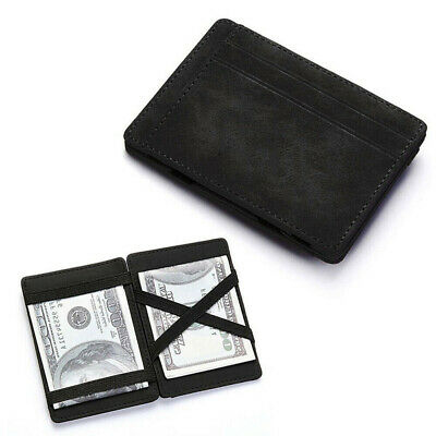 Leather Magic Money Clip Slim Wallet ID Card Business Card Holder Purse Black