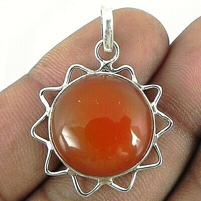 925 Sterling Silver Handmade Pendant Necklace Carnelian Gemstone Jewelry PS-1865