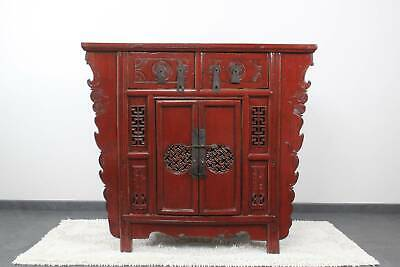 Asiatische Kommode in Rot 104 cm China Sideboard Ulmenholz - AsienLifeStyle