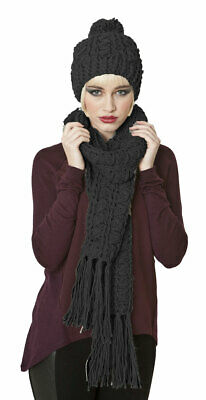 Ladies Maude Knitted Fashion Winter Beanie Hat And Scarf Set