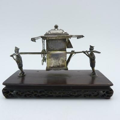 Antique Chinese Silver Inkwell As A Sedan Chair, Signed Wang Hing, 19Th Sentury