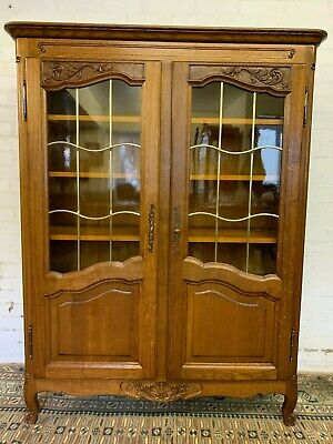 Elegant French Carved Oak Glazed Two Door Bookcase