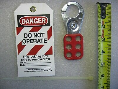 """Lot of 25) Brady 1"""" Safety Lockout Hasps & Polyester Tagout Labels 133161/66064"""