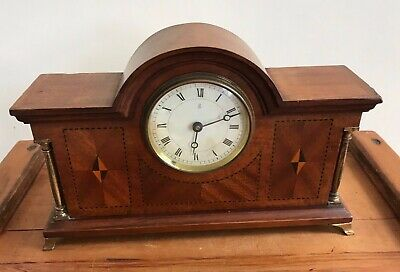 Gorgeous Edwardian Inlaid Wooden Cased Mantle Clock
