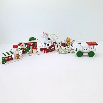 """Vintage Wooden Christmas Ornaments Train Horse Hand Painted 1 1/4"""" Lot of 5"""