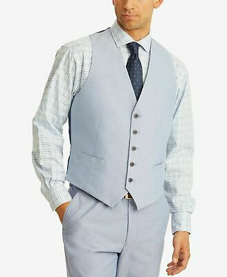 $100 Tommy Hilfiger Modern-Fit TH Flex Stretch Blue Chambray Suit Vest Large