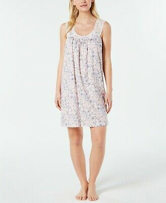 Charter Club Lace-Trim Printed Soft Knit Nightgown Gown Pink Small NEW $55