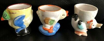 3 X VINTAGE RETRO CERAMIC CHICKS / HENS EGG CUPS in EXC LOT # 3 of 4