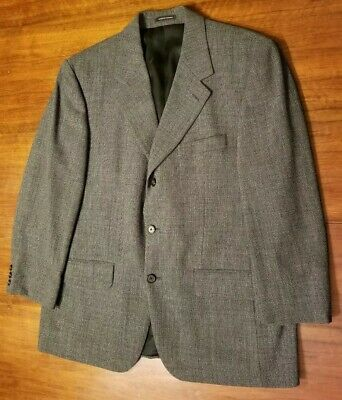 Yves Saint Laurent Men's Worsted Wool Sport Coat Blazer Gray Glen Plaid 44R