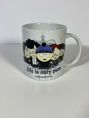 2009 Comedy Partners South Park Life Is Only Pain Coffee Mug Tea Cup Goth Emo