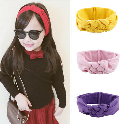 Girls Children Hair Braided Cross Turban Knot Hairband Cotton Elastic Headbands