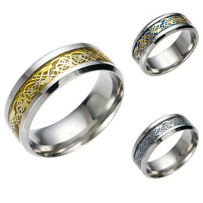 Men Silver Wedding Ring Band Celtic Dragon Pattern 8mm Comfort Fit Sizes 7 to 12