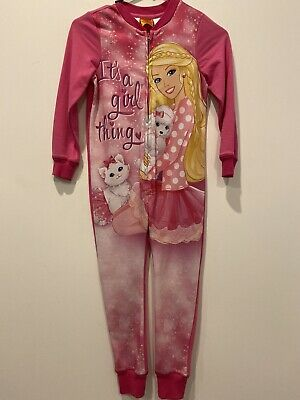Girls Barbie Sleepwear One Piece Long Sleeve Full Length Zip Up Pink New Size 6