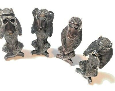 Vintage Hand Carved Set 4 Monkeys Hear Speak See No Evil Philippines MCM Decor