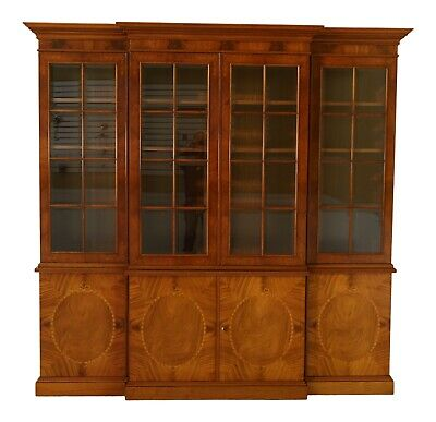 31681EC: Outstanding English Highly Inlaid Beveled Glass Breakfront Bookcase