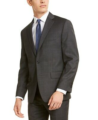 $450 Michael Kors Classic-Fit Stretch Gray Blue Windowpane Suit 38R / 32 x 30
