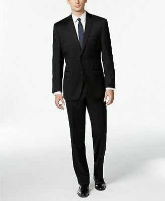 $650 Calvin Klein Black Solid Slim Fit Stretch Suit 40R / 34W Flat Pant Wool