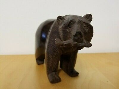 "Hand Carved Ironwood Bear with Fish in mouth 8"" long"
