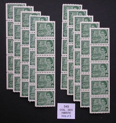 Centennial Lot of Coil Stamps  ~ Unitrade #549 ~ 10 Strips of 5 coils