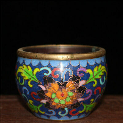 "2.95"" Chinese Pure copper Cloisonne painted flower Handmade bowl Incense burner"