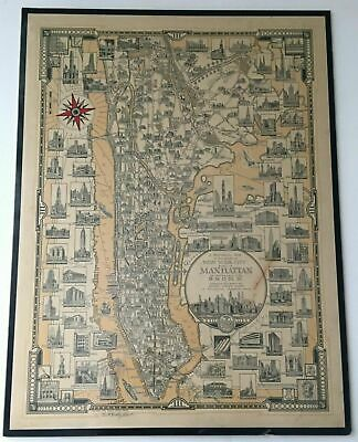 VTG RARE 1939 Hand Signed Manhattan NYC Pictorial Map Ernest Dudley Chase