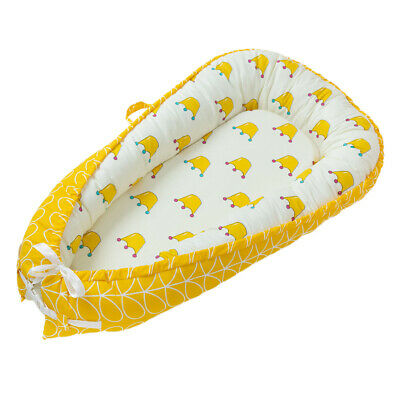 Travel Baby Lounger Newborn Infant Baby Bed Portable Pillow 0-3 Years Old Yellow