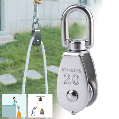 304 Stainless Steel Pulley Single Wheel Swivel Lifting Rope Pulley Block 20mm US