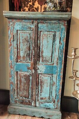 Antique Indian Teak Cabinet. Distressed Turquoise/blue Paintwork. Kitchen