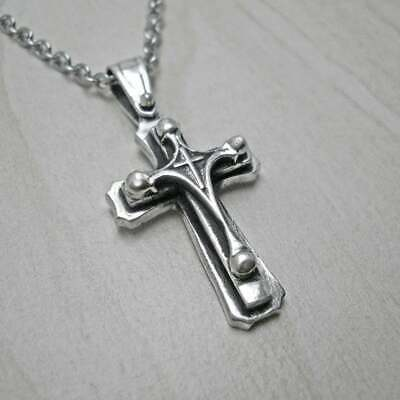 Solid Silver Men Cross Necklace Pendants Byzantine Medieval Antique Religious