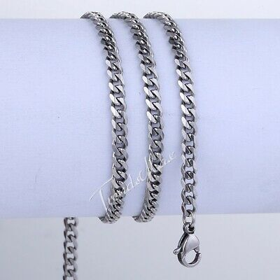 """3MM Mens Chain Curb Cuban Link Silver Tone Stainless Steel Necklace 18-36"""" Long"""
