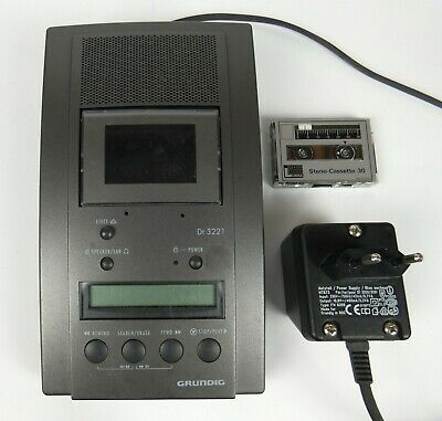 Vintage Grundig DT 3221 Stenorette with Power Supply  and Cassette