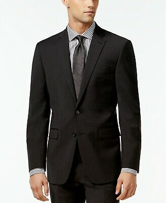 CALVIN KLEIN Mens Solid X Slim Fit Suit Jacket Blazer Charcoal Grey 42R NEW $475