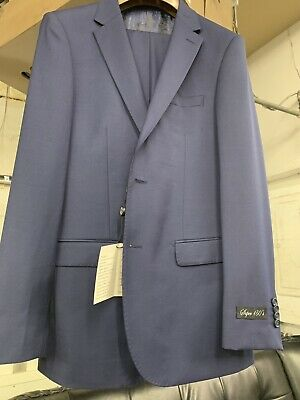New 42R Men's French Blue Suit 100% Wool Super 150 Made in Italy Retail $1295