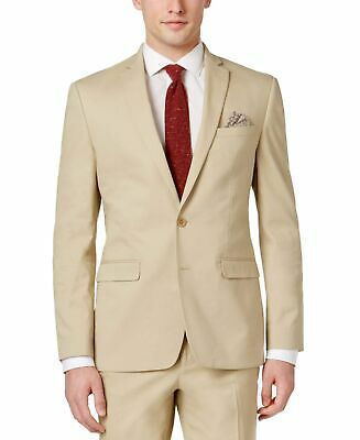 Bar III NEW Beige Mens Size 40 Long Slim Fit Two Button Blazer $275 #108