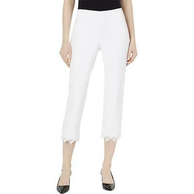 Alfani Womens Ivory Crochet Trim Office Wear Trouser Cropped Pants 12 BHFO 1239