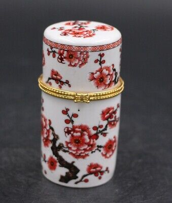 Chinese Porcelain plum blossom Toothpick Box Holder Storage Lucky Jewelry Box