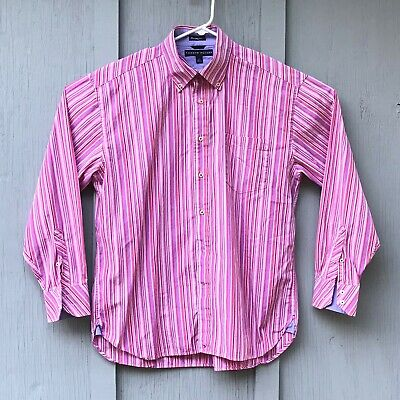 Tommy Hilfiger 80's 2 ply large men's pink striped long sleeve button down shirt