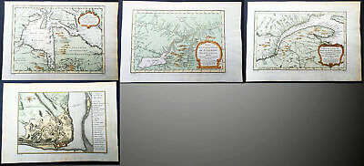 1757 Bellin 4 Antique Maps Canada - Hudsons Bay, Lawrence River, Quebec, Ontario