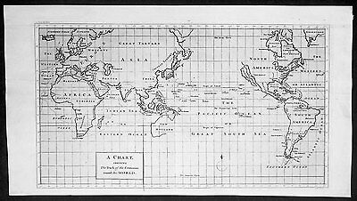 1745 Anson Original Antique World Map, America & Island of California, Australia