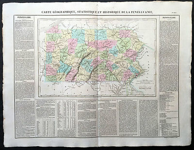1825 Buchon - Carey, Lea - Large Antique Map State of Pennsylvania North America