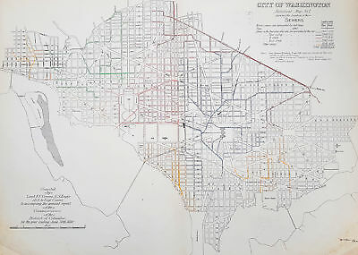 1880 F V Greene Large Antique Map Location of the Sewer System in Washington DC