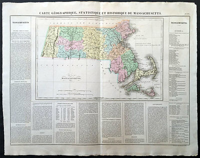 1825 Buchon - Carey, Lea - Large Antique Map State Massachusetts, North America